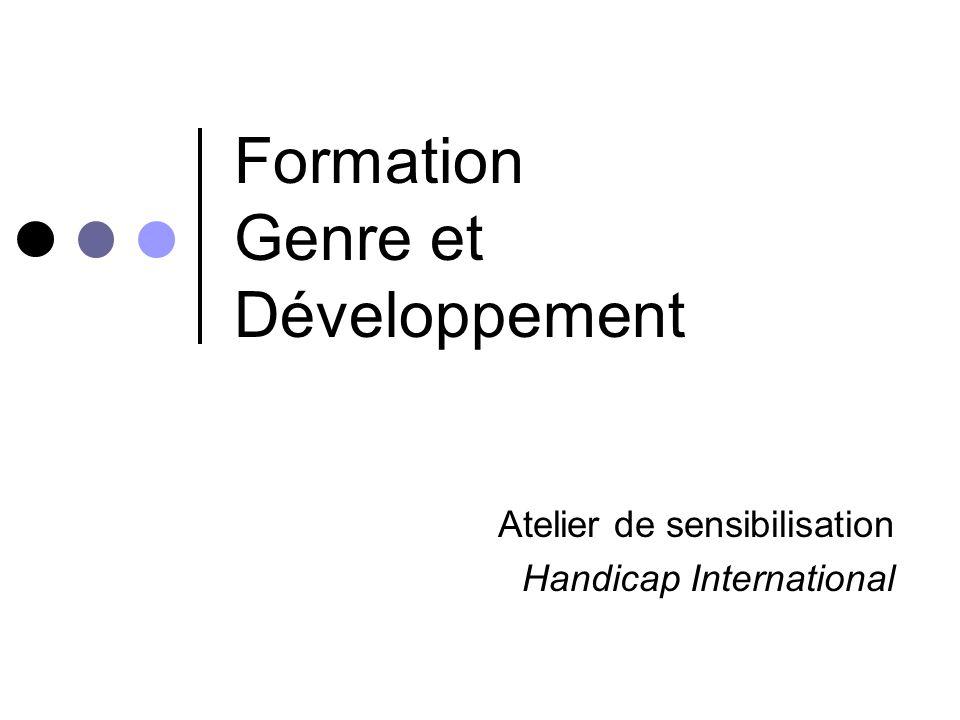 Formation Genre et Développement Atelier de sensibilisation Handicap International