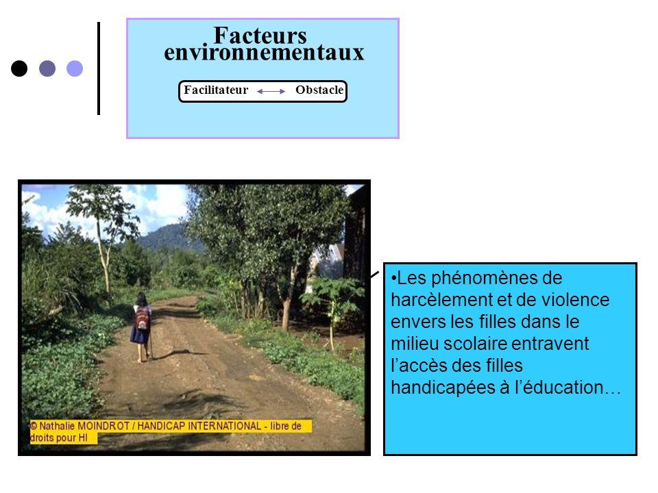 Facteurs environnementaux Facilitateur Obstacle Dans certaines cultures la présence de personnel de santé féminin facilite laccés des femmes handicapé