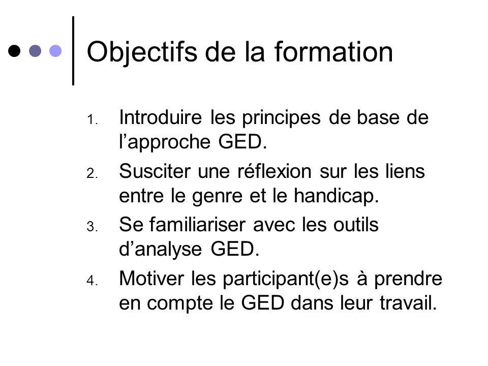Objectifs de la formation 1.Introduire les principes de base de lapproche GED.