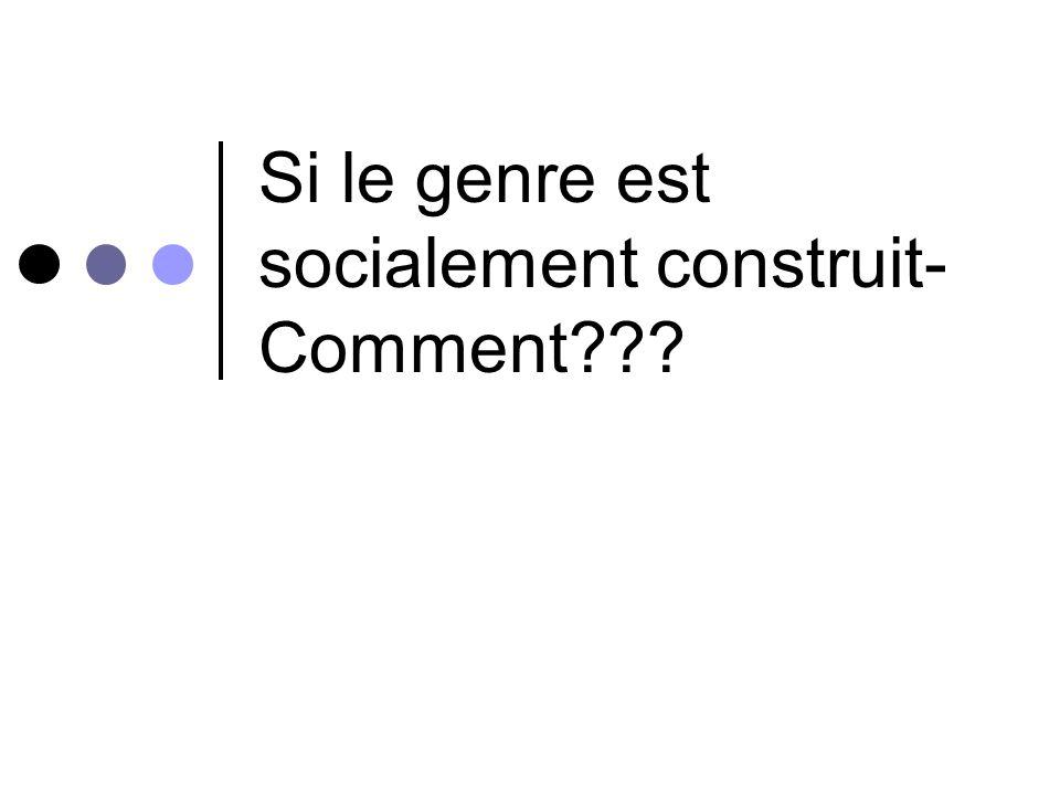 Si le genre est socialement construit- Comment???