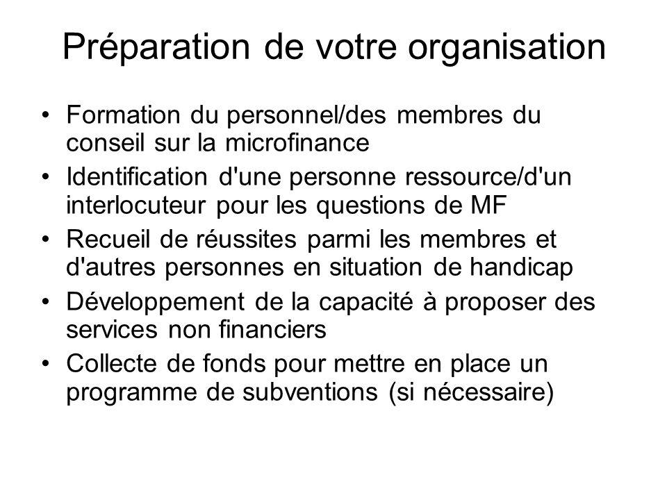 Formation du personnel/des membres du conseil sur la microfinance Identification d'une personne ressource/d'un interlocuteur pour les questions de MF