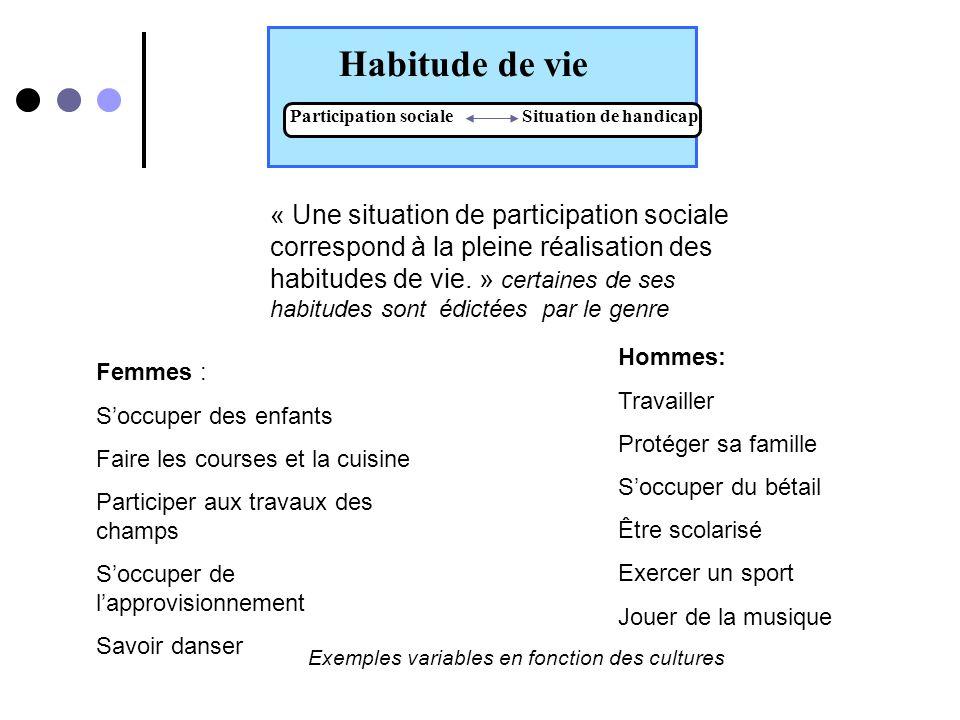 Habitudes de vie Participation sociale Situation de handicap « Une habitude de vie est une activité courante ou un rôle social valorisé par la personne ou son contexte socioculturel selon ses caractéristiques (âge, sexe, lidentité, etc.).