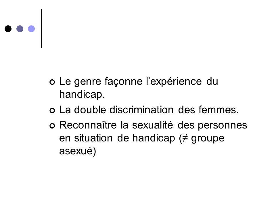 Corrélation genre et handicap En quoi il est pertinent de prendre en compte le genre quand on sintéresse au handicap?