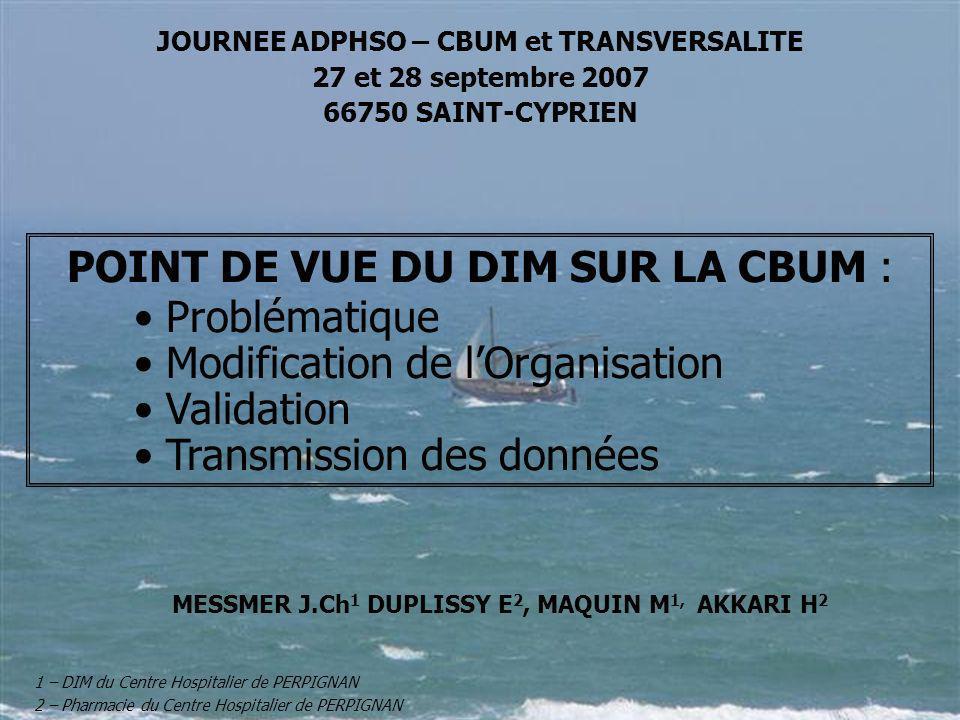 POINT DE VUE DU DIM SUR LA CBUM : Problématique Modification de lOrganisation Validation Transmission des données MESSMER J.Ch 1 DUPLISSY E 2, MAQUIN