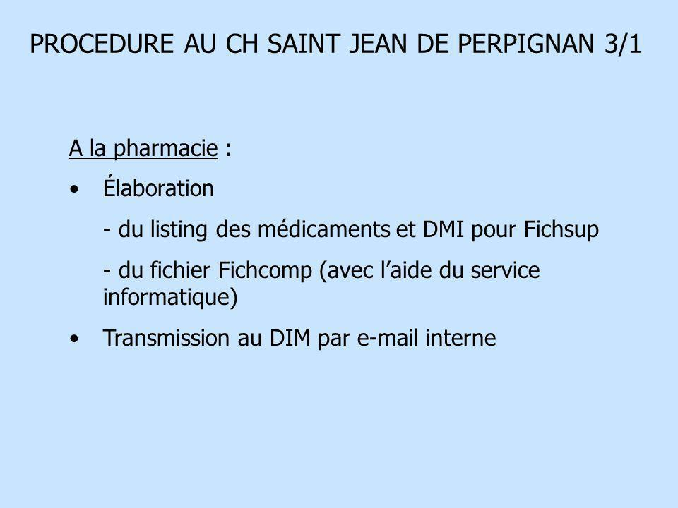 PROCEDURE AU CH SAINT JEAN DE PERPIGNAN 3/1 A la pharmacie : Élaboration - du listing des médicaments et DMI pour Fichsup - du fichier Fichcomp (avec