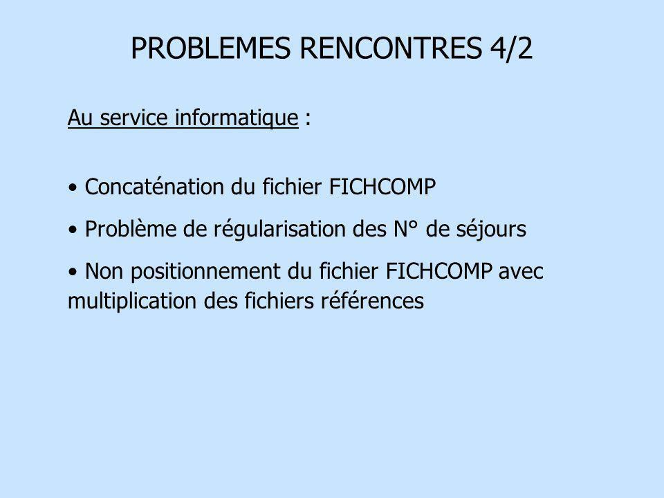 PROBLEMES RENCONTRES 4/2 Au service informatique : Concaténation du fichier FICHCOMP Problème de régularisation des N° de séjours Non positionnement d