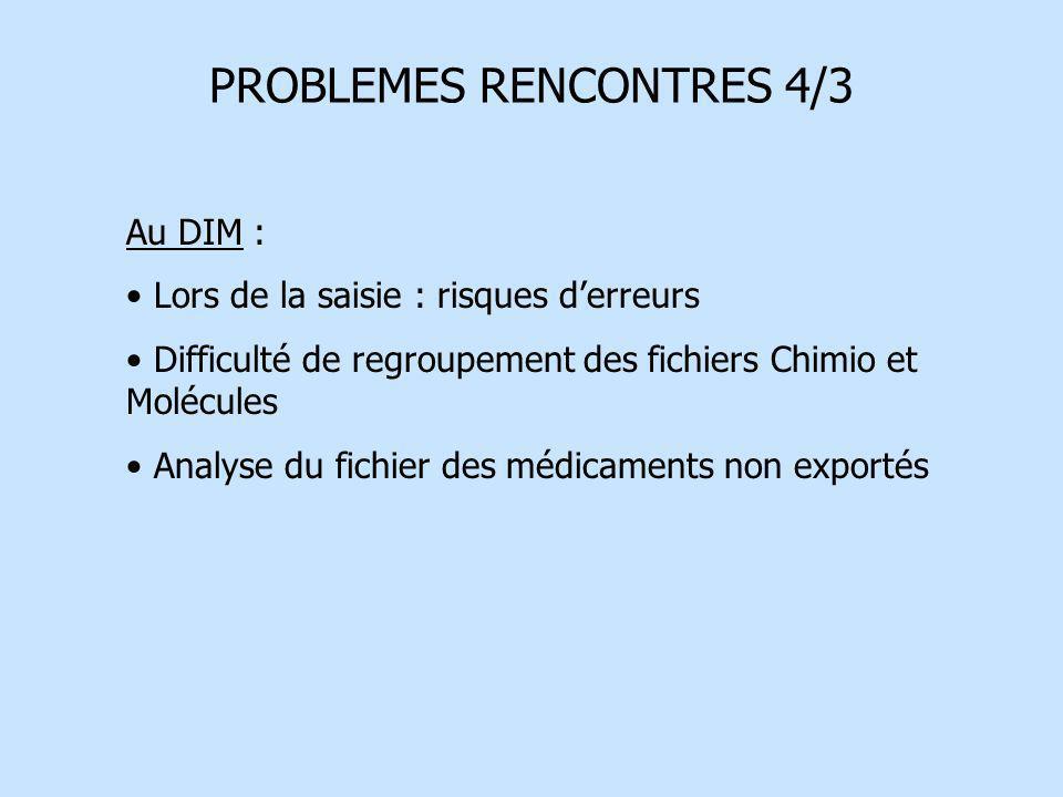 PROBLEMES RENCONTRES 4/3 Au DIM : Lors de la saisie : risques derreurs Difficulté de regroupement des fichiers Chimio et Molécules Analyse du fichier