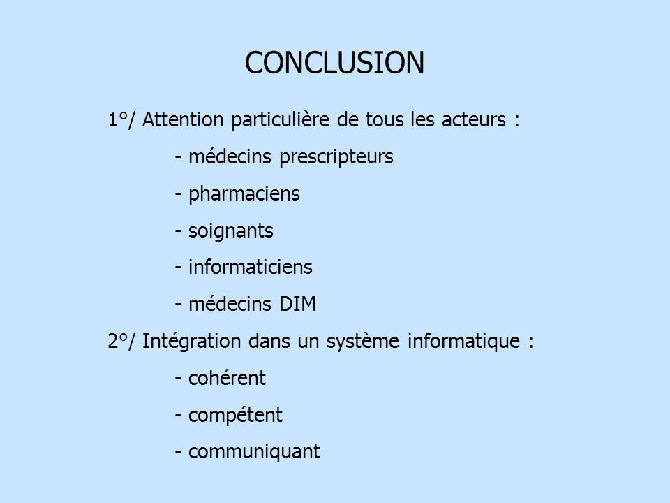 CONCLUSION 1°/ Attention particulière de tous les acteurs : - médecins prescripteurs - pharmaciens - soignants - informaticiens - médecins DIM 2°/ Int