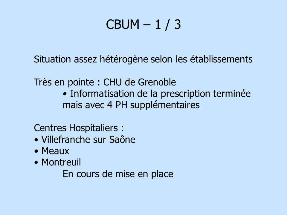 CBUM – 1 / 3 Situation assez hétérogène selon les établissements Très en pointe : CHU de Grenoble Informatisation de la prescription terminée mais ave