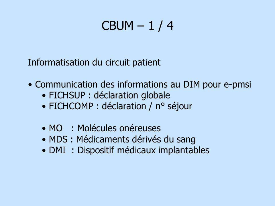 CBUM – 1 / 4 Informatisation du circuit patient Communication des informations au DIM pour e-pmsi FICHSUP : déclaration globale FICHCOMP : déclaration