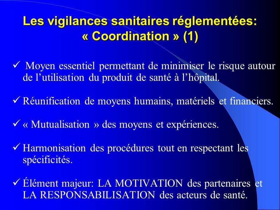 Les vigilances sanitaires réglementées: « Coordination » (1) Moyen essentiel permettant de minimiser le risque autour de lutilisation du produit de sa