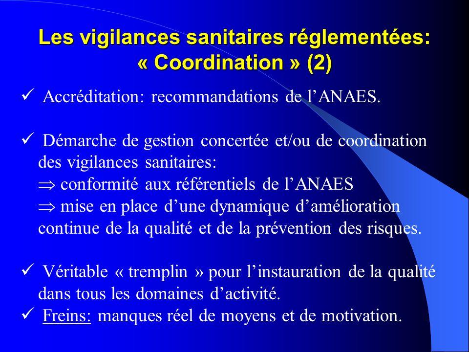Les vigilances sanitaires réglementées: « Coordination » (2) Accréditation: recommandations de lANAES. Démarche de gestion concertée et/ou de coordina