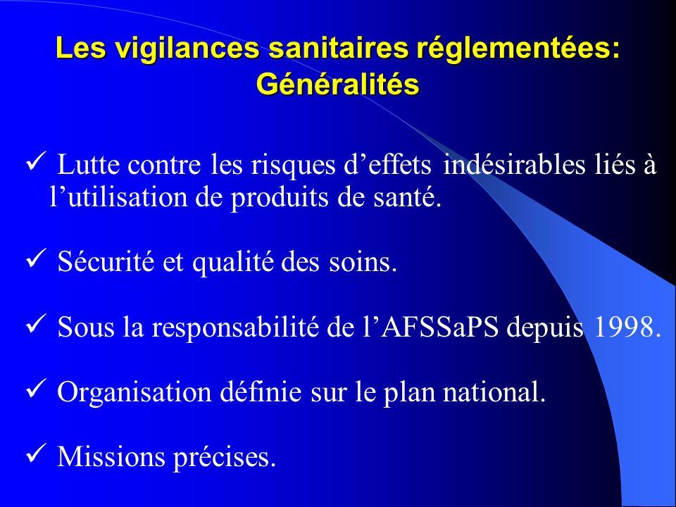 Les vigilances sanitaires réglementées: Généralités Lutte contre les risques deffets indésirables liés à lutilisation de produits de santé. Sécurité e