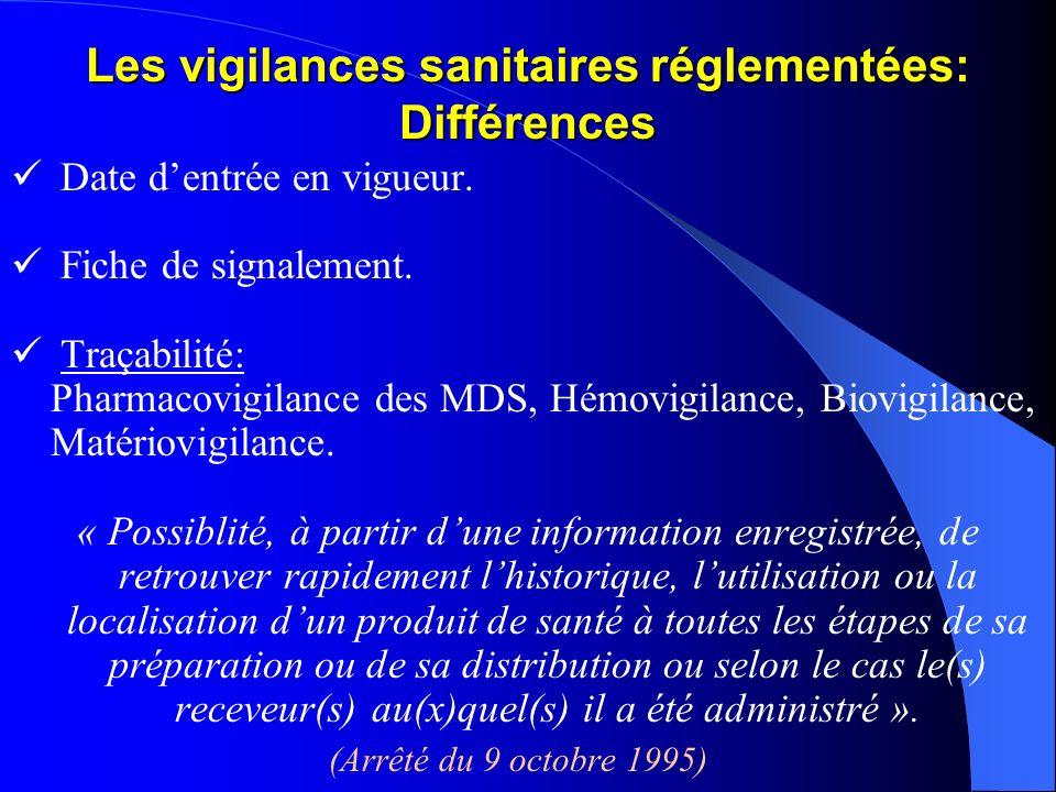 Les vigilances sanitaires réglementées: Différences Date dentrée en vigueur. Fiche de signalement. Traçabilité: Pharmacovigilance des MDS, Hémovigilan