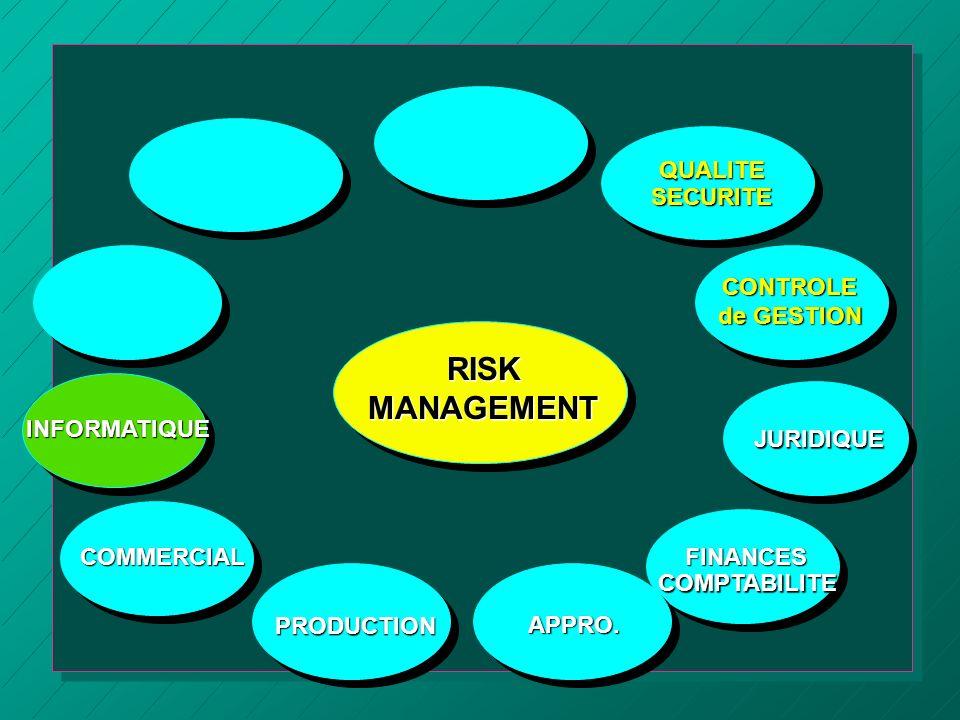 RISKMANAGEMENT COMMERCIAL APPRO.QUALITESECURITE CONTROLE de GESTION JURIDIQUE PRODUCTIONFINANCESCOMPTABILITE INFORMATIQUE