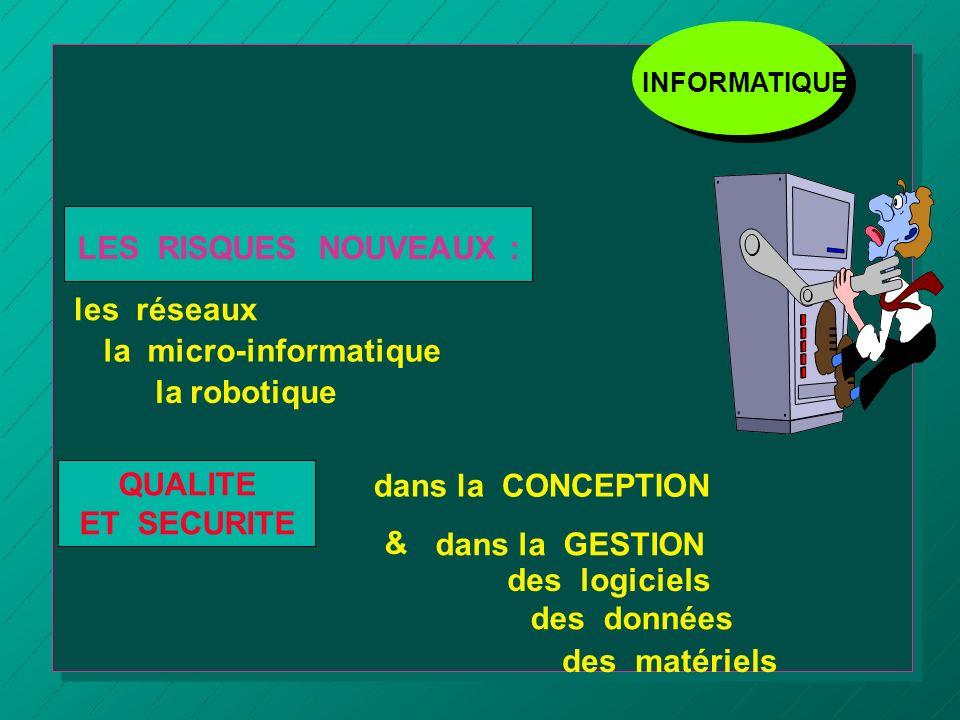 dans la CONCEPTION & dans la GESTION des logiciels des données des matériels LES RISQUES NOUVEAUX : les réseaux la micro-informatique la robotique QUA