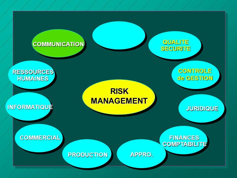 RISKMANAGEMENT COMMUNICATION COMMERCIAL APPRO.QUALITESECURITE CONTROLE de GESTION JURIDIQUE PRODUCTIONFINANCESCOMPTABILITE INFORMATIQUERESSOURCESHUMAI