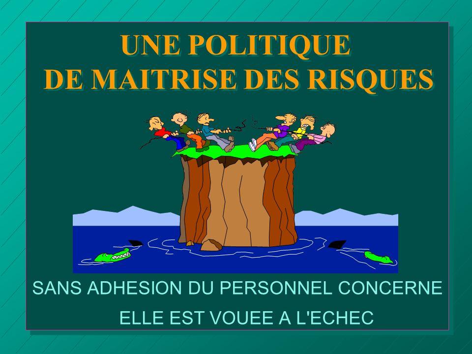 UNE POLITIQUE DE MAITRISE DES RISQUES SANS ADHESION DU PERSONNEL CONCERNE ELLE EST VOUEE A L'ECHEC
