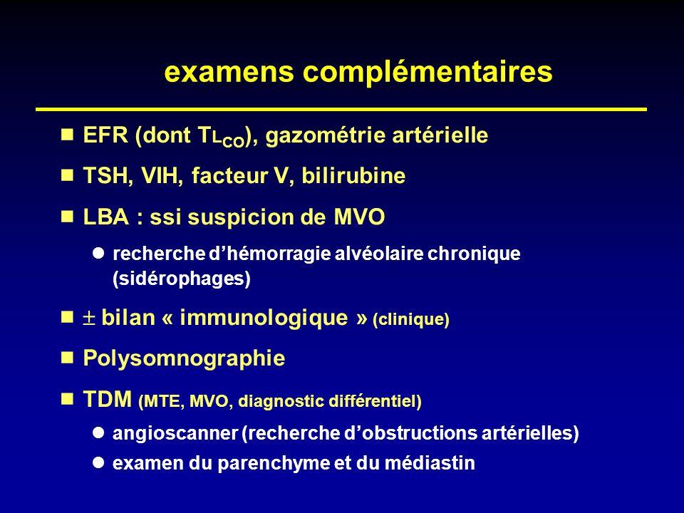 examens complémentaires EFR (dont T L CO ), gazométrie artérielle TSH, VIH, facteur V, bilirubine LBA : ssi suspicion de MVO recherche dhémorragie alv