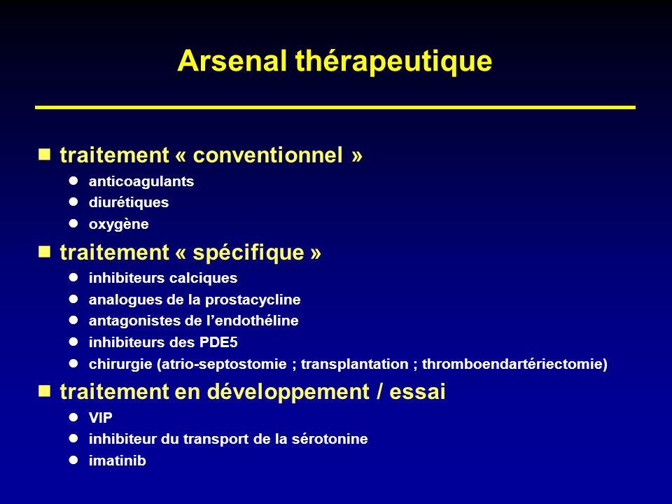 Arsenal thérapeutique traitement « conventionnel » anticoagulants diurétiques oxygène traitement « spécifique » inhibiteurs calciques analogues de la