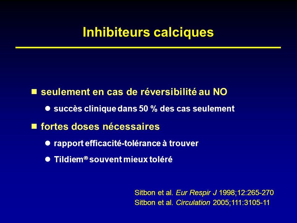 Inhibiteurs calciques seulement en cas de réversibilité au NO succès clinique dans 50 % des cas seulement fortes doses nécessaires rapport efficacité-
