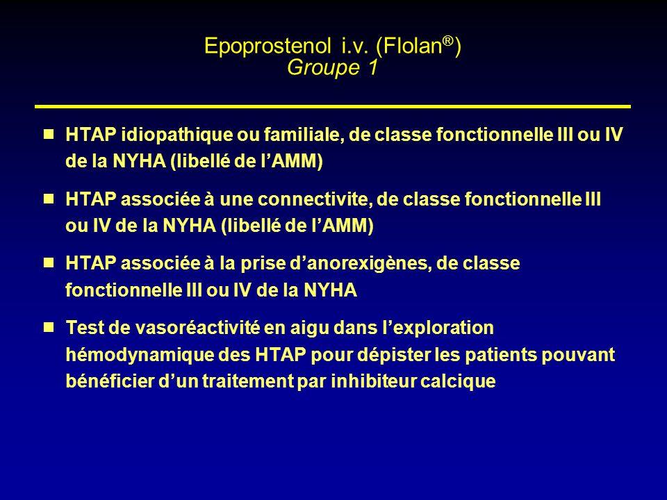 HTAP idiopathique ou familiale, de classe fonctionnelle III ou IV de la NYHA (libellé de lAMM) HTAP associée à une connectivite, de classe fonctionnel