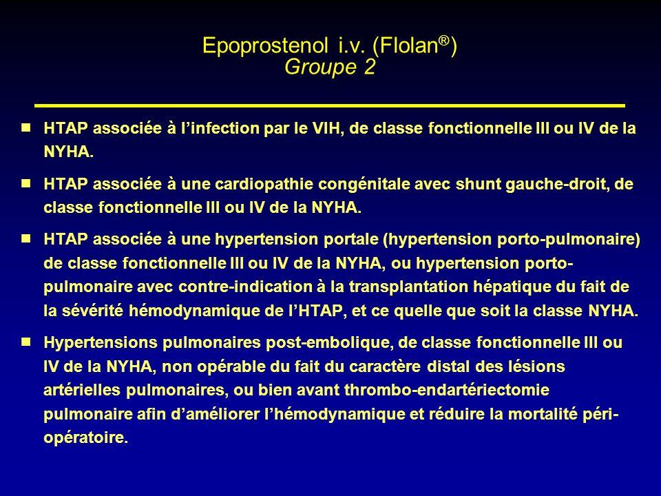 HTAP associée à linfection par le VIH, de classe fonctionnelle III ou IV de la NYHA. HTAP associée à une cardiopathie congénitale avec shunt gauche-dr