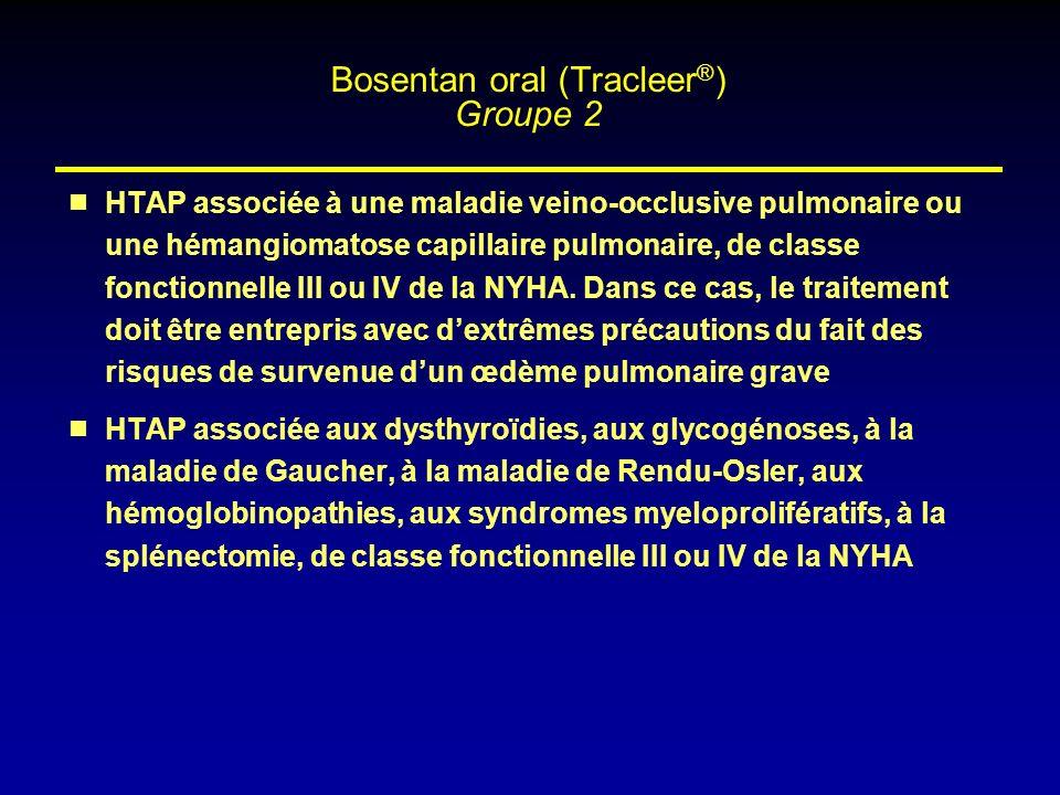 HTAP associée à une maladie veino-occlusive pulmonaire ou une hémangiomatose capillaire pulmonaire, de classe fonctionnelle III ou IV de la NYHA. Dans