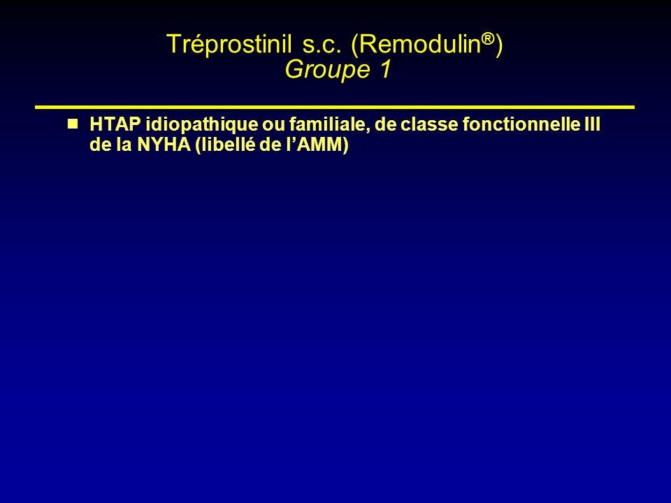 HTAP idiopathique ou familiale, de classe fonctionnelle III de la NYHA (libellé de lAMM) Tréprostinil s.c. (Remodulin ® ) Groupe 1