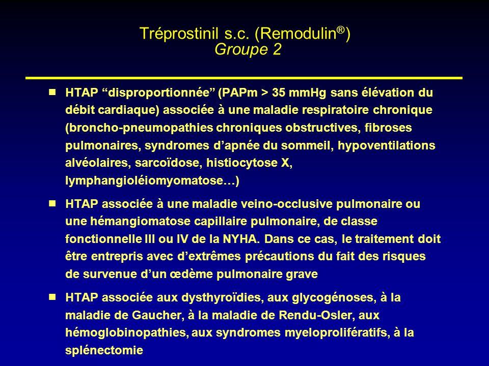 HTAP disproportionnée (PAPm > 35 mmHg sans élévation du débit cardiaque) associée à une maladie respiratoire chronique (broncho-pneumopathies chroniqu