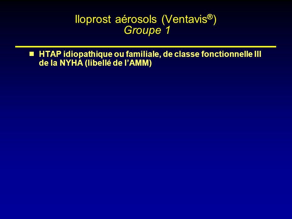 HTAP idiopathique ou familiale, de classe fonctionnelle III de la NYHA (libellé de lAMM) Iloprost aérosols (Ventavis ® ) Groupe 1