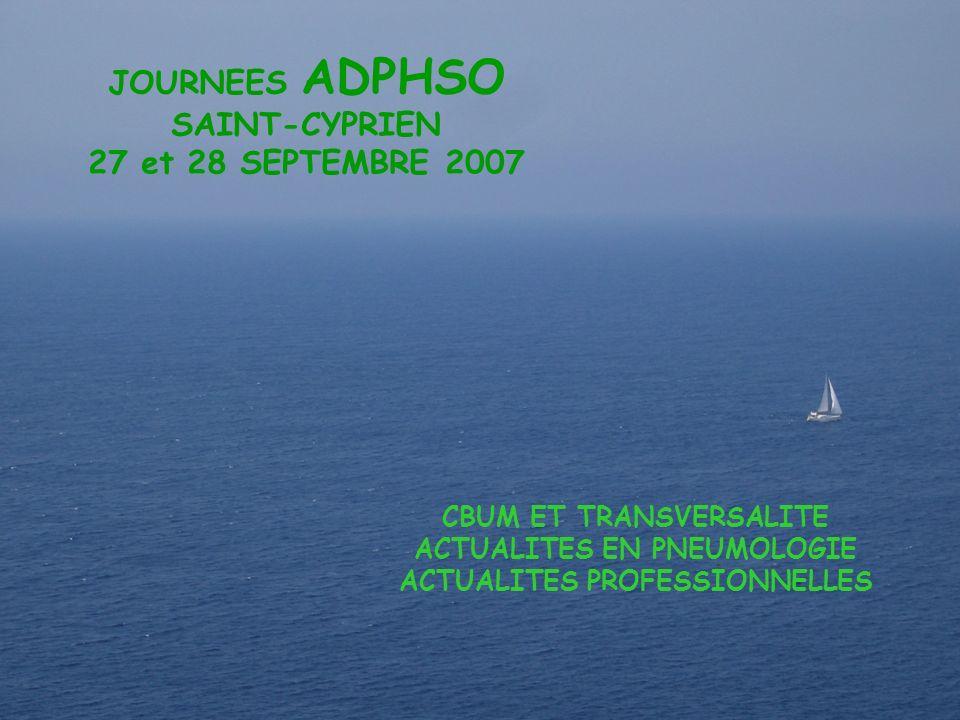 ADPHSO 27 & 28 septembre 2007 CBUM 1 Adphso JOURNEES ADPHSO SAINT-CYPRIEN 27 et 28 SEPTEMBRE 2007 CBUM ET TRANSVERSALITE ACTUALITES EN PNEUMOLOGIE ACT