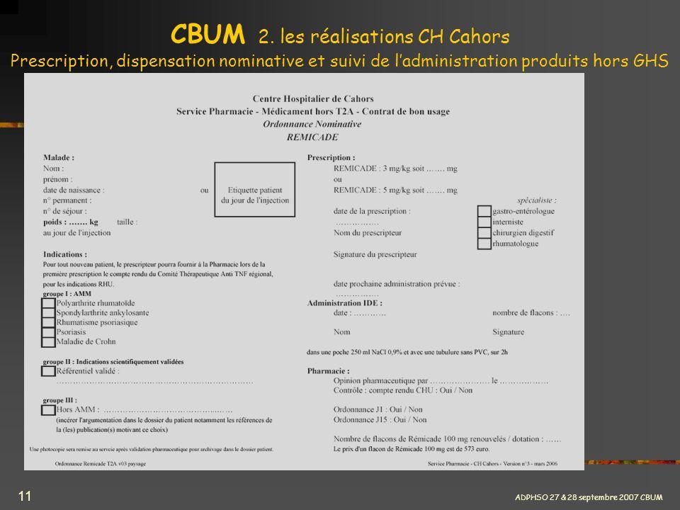 ADPHSO 27 & 28 septembre 2007 CBUM 11 CBUM 2. les réalisations CH Cahors Prescription, dispensation nominative et suivi de ladministration produits ho