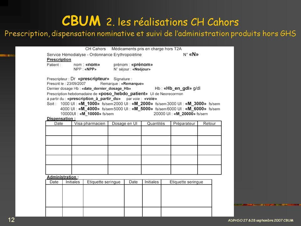 ADPHSO 27 & 28 septembre 2007 CBUM 12 CBUM 2. les réalisations CH Cahors Prescription, dispensation nominative et suivi de ladministration produits ho