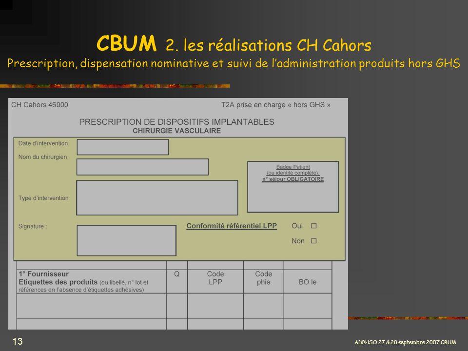 ADPHSO 27 & 28 septembre 2007 CBUM 13 CBUM 2. les réalisations CH Cahors Prescription, dispensation nominative et suivi de ladministration produits ho