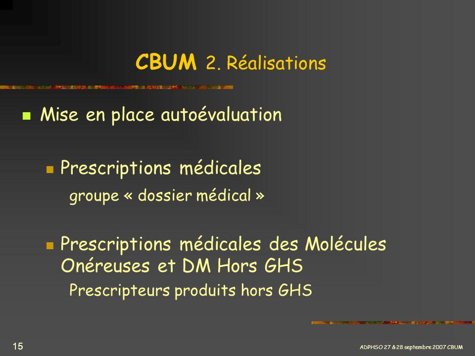 ADPHSO 27 & 28 septembre 2007 CBUM 15 CBUM 2. Réalisations Mise en place autoévaluation Prescriptions médicales groupe « dossier médical » Prescriptio