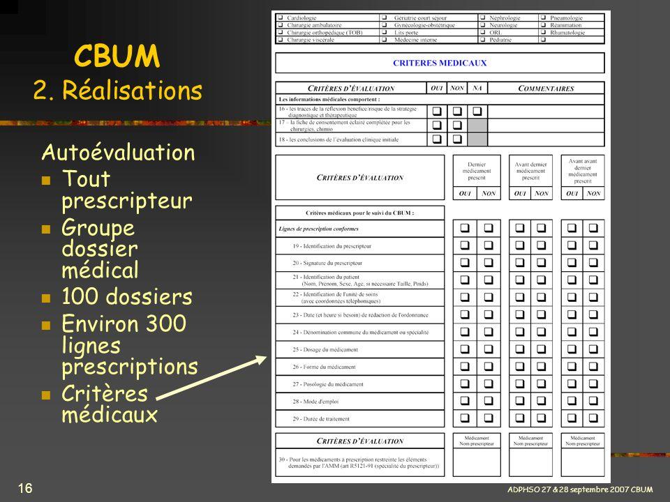 ADPHSO 27 & 28 septembre 2007 CBUM 16 CBUM 2. Réalisations Autoévaluation Tout prescripteur Groupe dossier médical 100 dossiers Environ 300 lignes pre