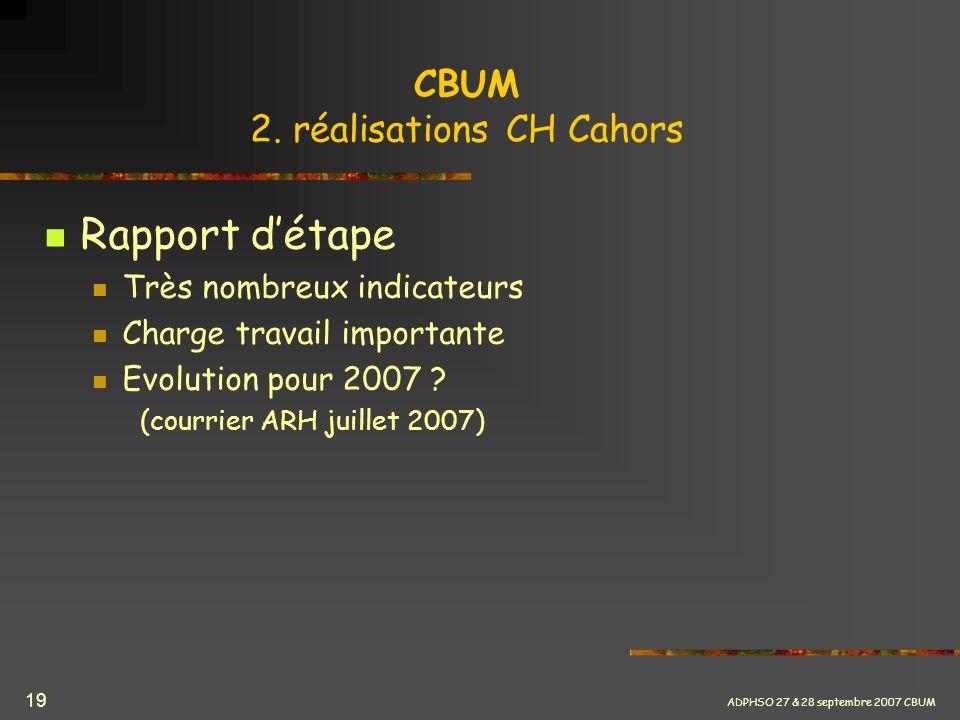 ADPHSO 27 & 28 septembre 2007 CBUM 19 CBUM 2. réalisations CH Cahors Rapport détape Très nombreux indicateurs Charge travail importante Evolution pour