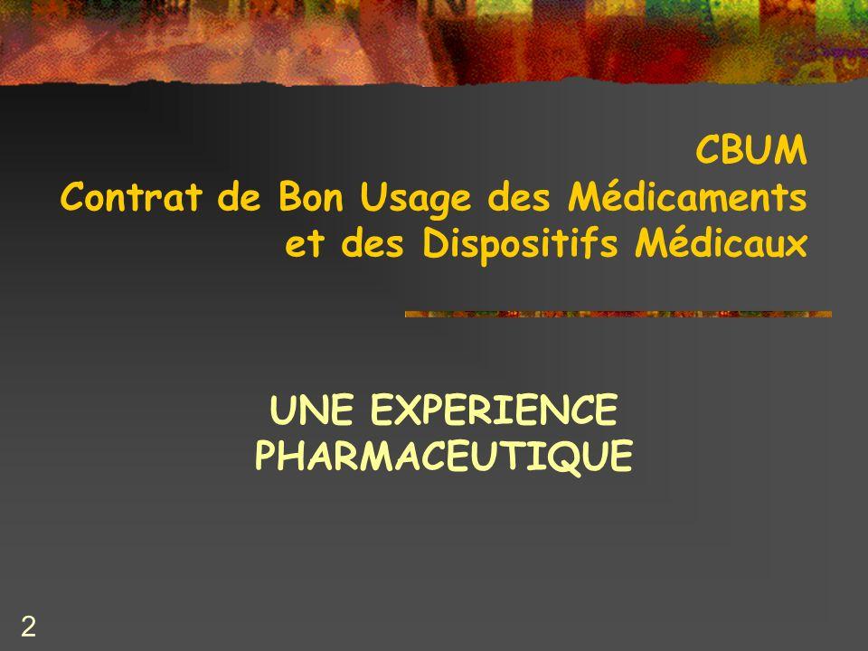 2 CBUM Contrat de Bon Usage des Médicaments et des Dispositifs Médicaux UNE EXPERIENCE PHARMACEUTIQUE