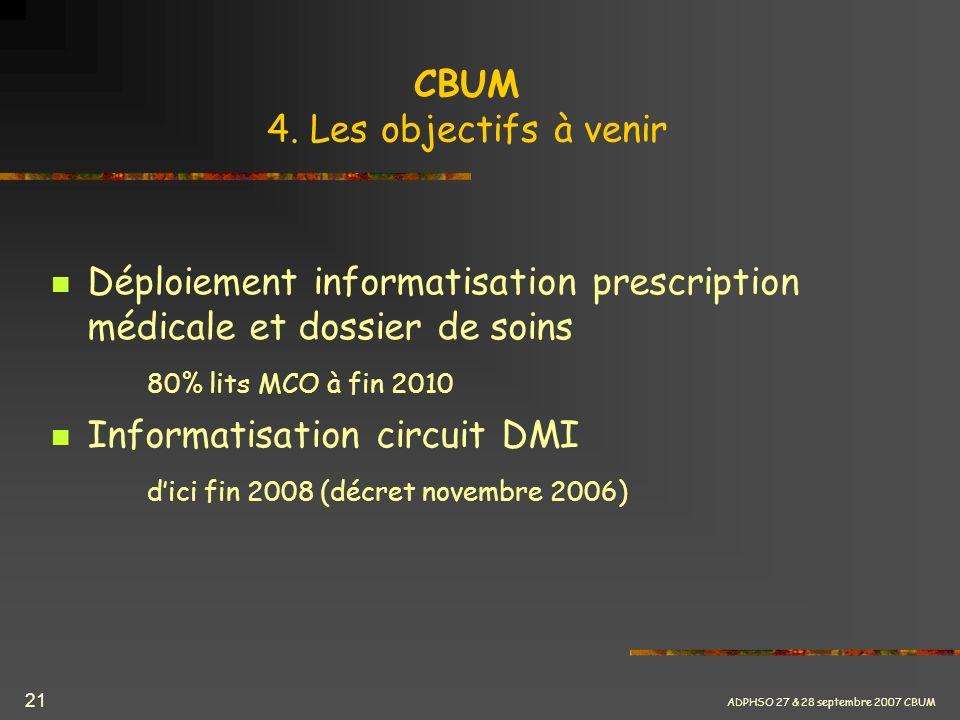 ADPHSO 27 & 28 septembre 2007 CBUM 21 CBUM 4. Les objectifs à venir Déploiement informatisation prescription médicale et dossier de soins 80% lits MCO