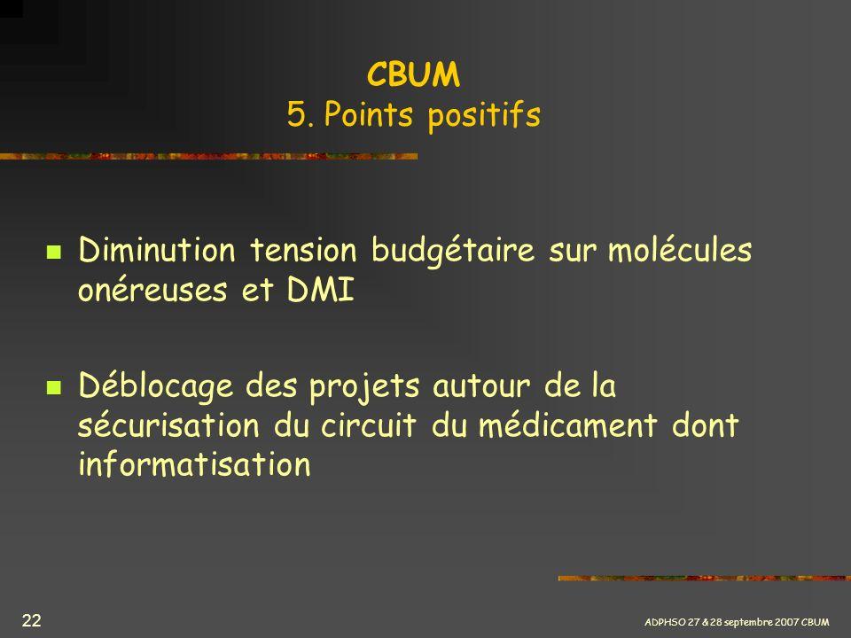 ADPHSO 27 & 28 septembre 2007 CBUM 22 CBUM 5. Points positifs Diminution tension budgétaire sur molécules onéreuses et DMI Déblocage des projets autou