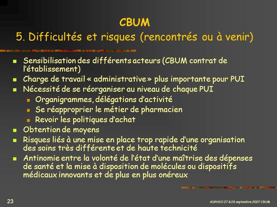 ADPHSO 27 & 28 septembre 2007 CBUM 23 CBUM 5. Difficultés et risques (rencontrés ou à venir) Sensibilisation des différents acteurs (CBUM contrat de l