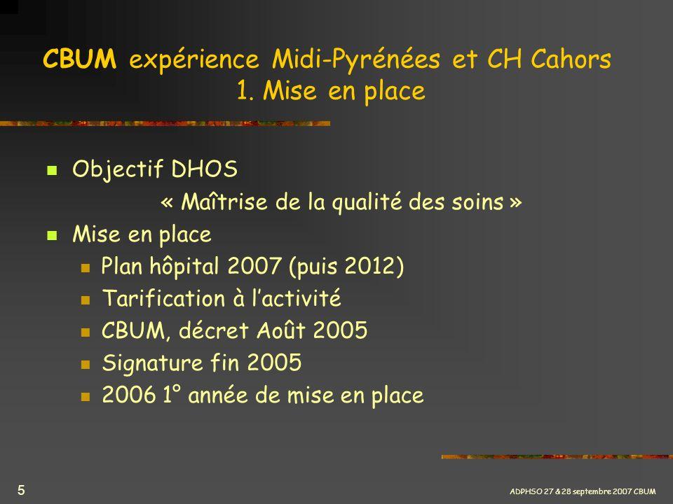 ADPHSO 27 & 28 septembre 2007 CBUM 5 CBUM expérience Midi-Pyrénées et CH Cahors 1. Mise en place Objectif DHOS « Maîtrise de la qualité des soins » Mi