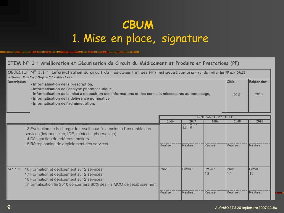 ADPHSO 27 & 28 septembre 2007 CBUM 9 CBUM 1. Mise en place, signature