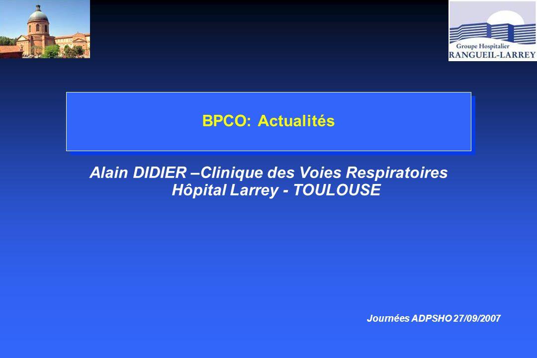 BPCO: Attitudes thérapeutiques ce qui est admis, ce qui ne lest pas encore VNI et exacerbations de BPCO (niveau de preuve A) 5 essais controlés randomisés Taux de succés 80 à 85% Amélioration Ph, PaO2 et dyspnée dans les 4 heures Diminution de la durée de séjour Diminution de la mortalité (évite l intubation) –Am J respir Crit Care Med 2001:163:283-291 –SPLF 2003