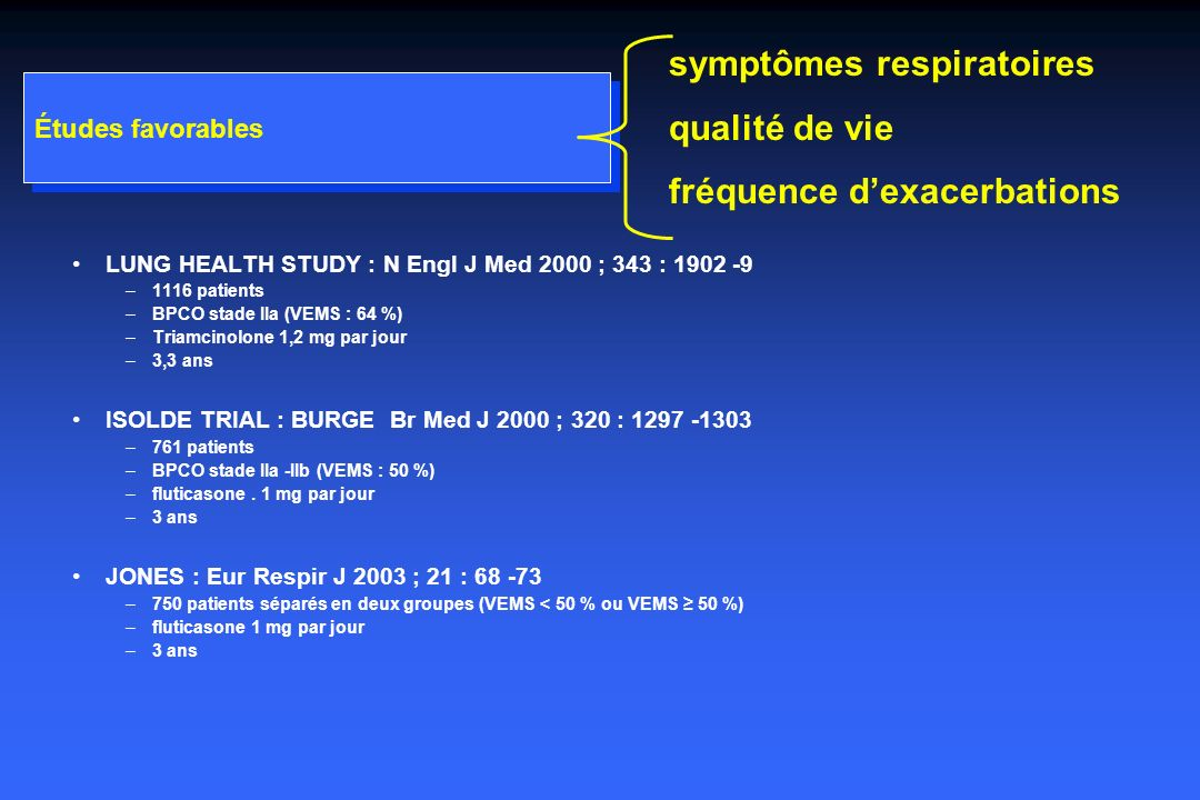 Études favorables LUNG HEALTH STUDY : N Engl J Med 2000 ; 343 : 1902 -9 –1116 patients –BPCO stade IIa (VEMS : 64 %) –Triamcinolone 1,2 mg par jour –3