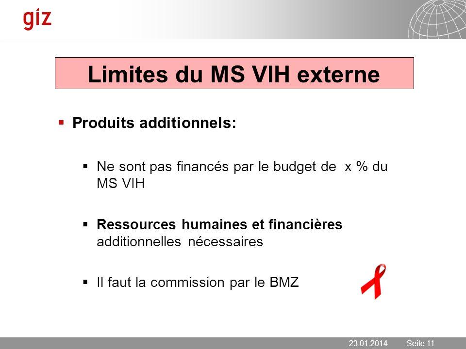 23.01.2014 Seite 11 Seite 11 Limites du MS VIH externe Produits additionnels: Ne sont pas financés par le budget de x % du MS VIH Ressources humaines