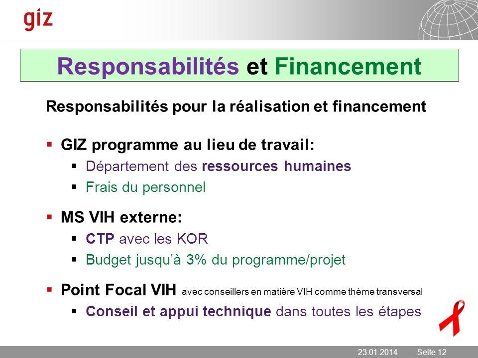 23.01.2014 Seite 12 Seite 12 Responsabilités et Financement Responsabilités pour la réalisation et financement GIZ programme au lieu de travail: Dépar
