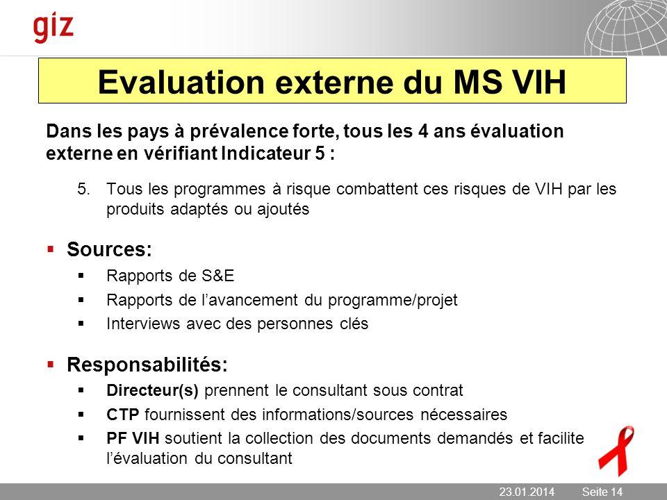 23.01.2014 Seite 14 Seite 14 Evaluation externe du MS VIH Dans les pays à prévalence forte, tous les 4 ans évaluation externe en vérifiant Indicateur