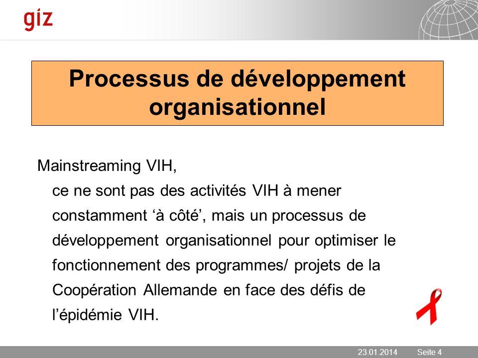 23.01.2014 Seite 4 Seite 4 Processus de développement organisationnel Mainstreaming VIH, ce ne sont pas des activités VIH à mener constamment à côté,